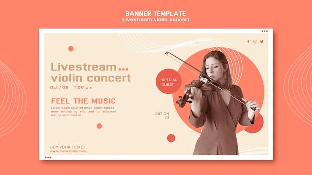 Bannière horizontale de concert de violon livestream