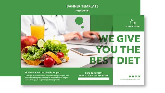 Bannière horizontale avec conseils nutritionnistes