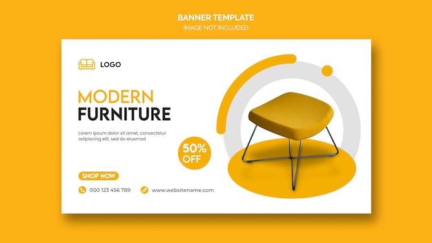 Bannière horizontale ou couverture facebook avec un design minimal et une réduction sur les meubles de maison