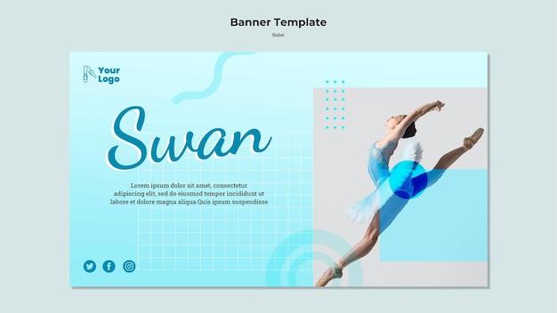 Bannière horizontale de danseuse de ballet avec photo