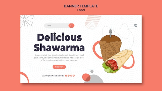 Bannière horizontale de délicieux shawarma