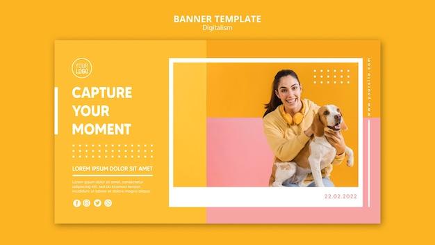 Bannière horizontale de digitalisme coloré avec photo