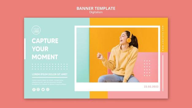 Bannière horizontale de digitalisme coloré