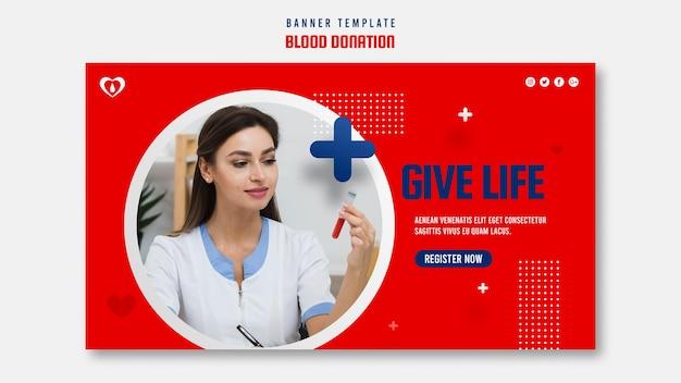Bannière horizontale de don de sang