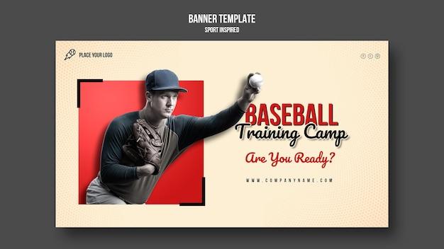 Bannière horizontale du camp d'entraînement de baseball