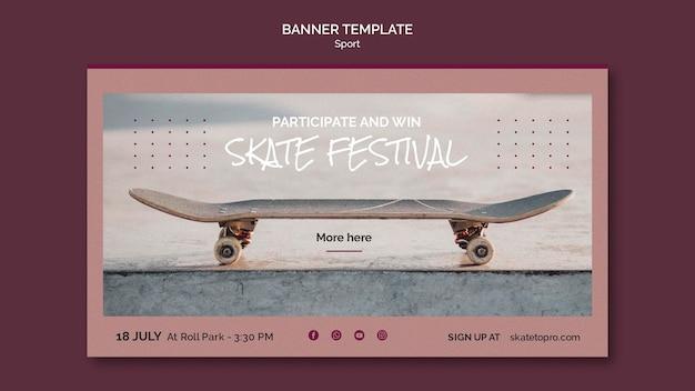 Bannière horizontale du festival de skate