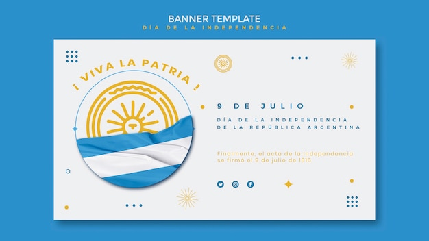 Bannière horizontale du jour de l'indépendance de l'argentine
