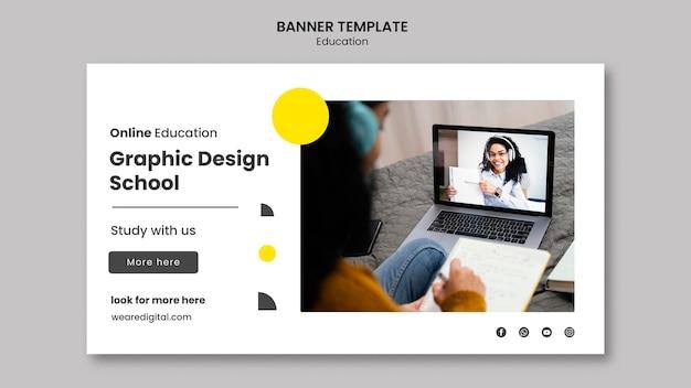 Bannière horizontale de l'école de design graphique