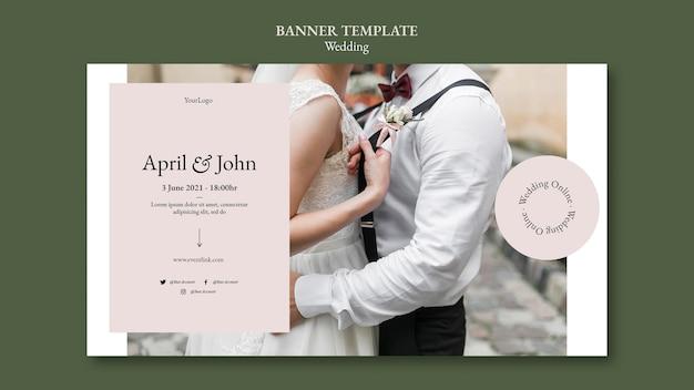 Bannière horizontale d'événement de mariage