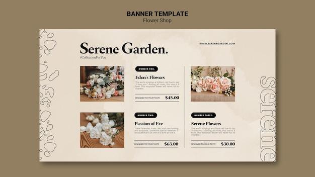 Bannière horizontale de fleuriste