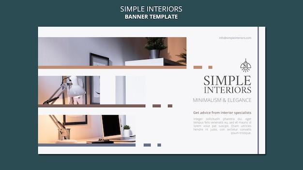 Bannière horizontale intérieurs minimaux