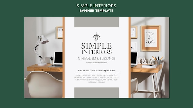 Bannière horizontale d'intérieurs simples