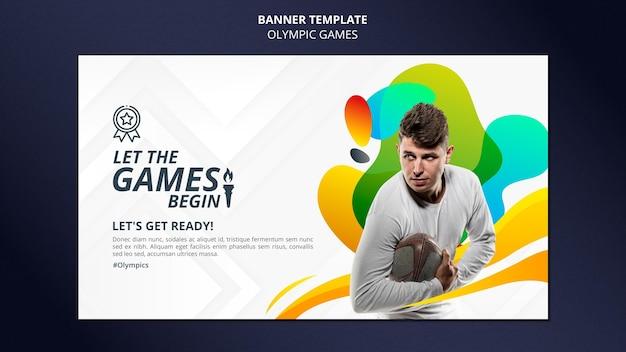 Bannière horizontale de jeux de sport avec photo