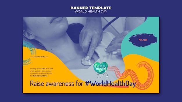 Bannière horizontale de la journée mondiale de la santé avec photo
