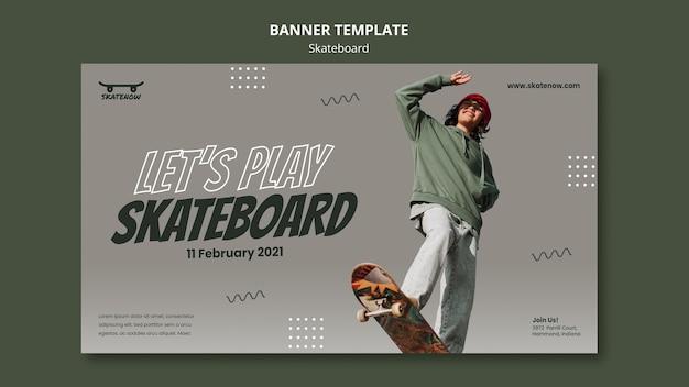 Bannière horizontale de leçon de skateboard