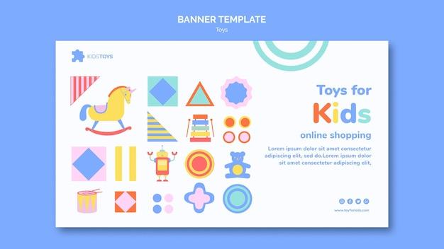 Bannière horizontale pour les achats en ligne de jouets pour enfants
