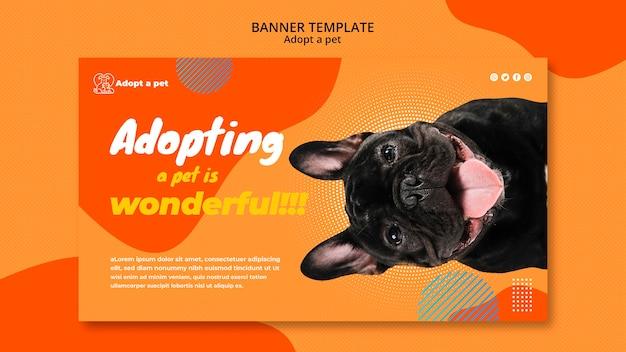 Bannière horizontale pour l'adoption d'animaux de compagnie dans un refuge