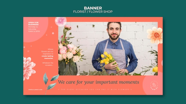 Bannière horizontale pour les affaires de magasin de fleurs