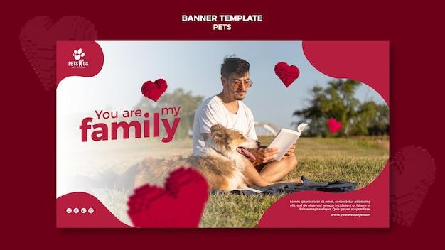 Bannière horizontale pour animaux de compagnie avec photo