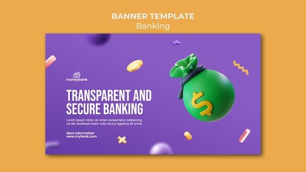 Bannière horizontale pour la banque et la finance en ligne