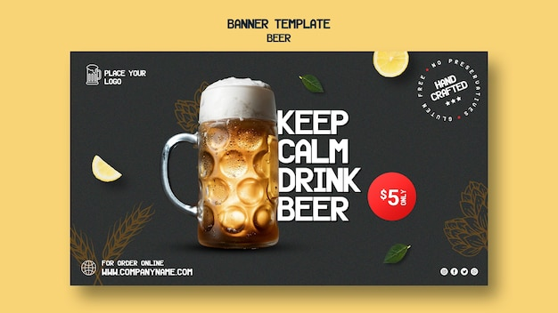 Bannière horizontale pour boire de la bière