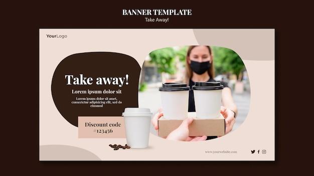 Bannière horizontale pour café à emporter