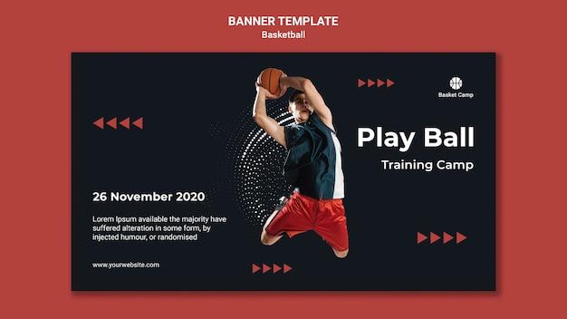Bannière horizontale pour le camp d'entraînement de basket-ball