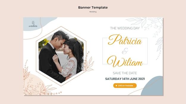 Bannière horizontale pour la cérémonie de mariage avec les mariés