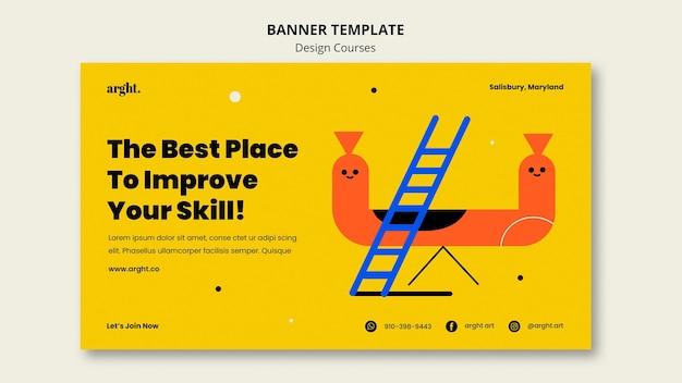 Bannière horizontale pour les cours de design graphique