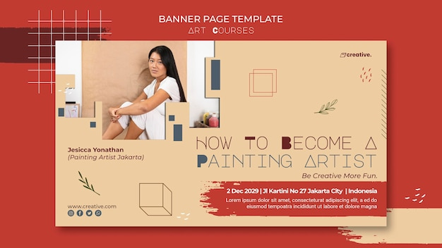Bannière horizontale pour les cours de peinture