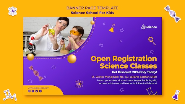 Bannière horizontale pour l'école des sciences pour enfants