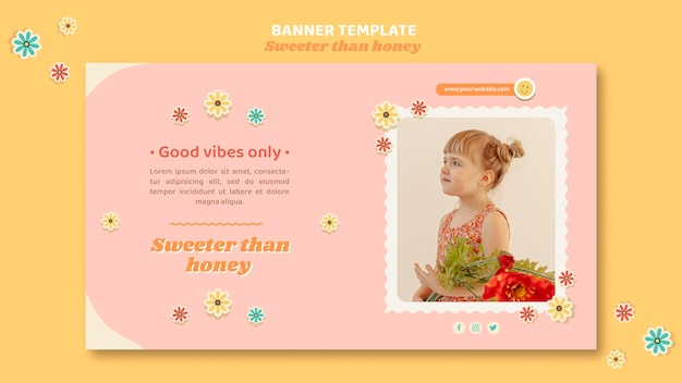 Bannière horizontale pour enfants avec des fleurs