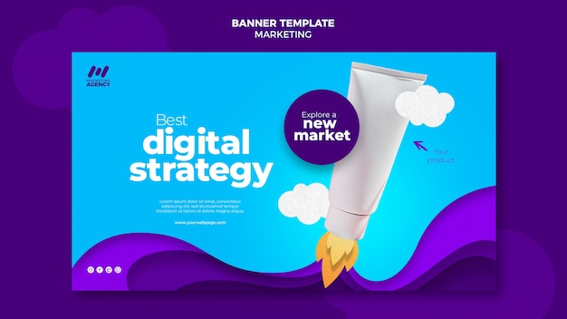 Bannière horizontale pour entreprise de marketing avec produit