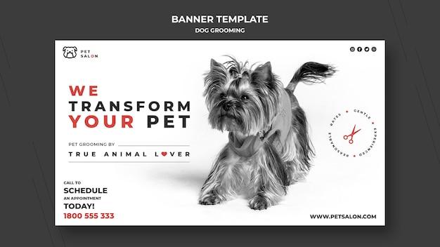 Bannière horizontale pour entreprise de toilettage pour animaux de compagnie