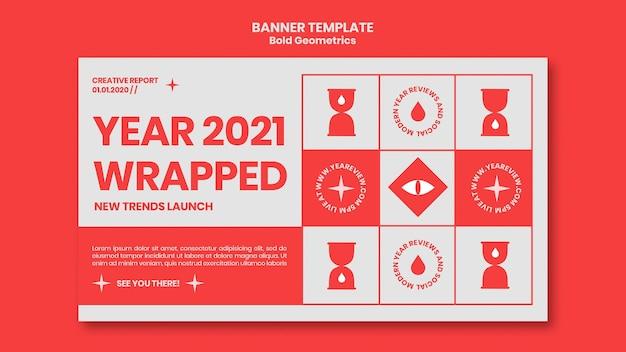 Bannière horizontale pour l'examen et les tendances du nouvel an
