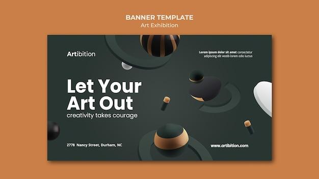 Bannière horizontale pour exposition d'art avec des formes géométriques