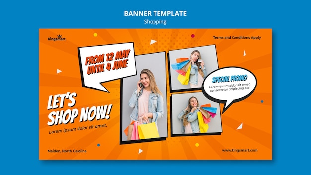 Bannière horizontale pour faire du shopping avec femme tenant des sacs à provisions