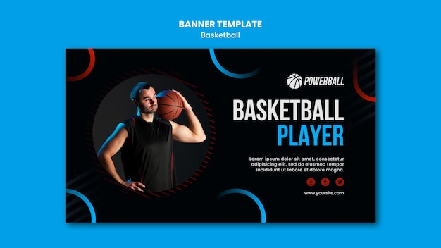Bannière horizontale pour le jeu de basket-ball