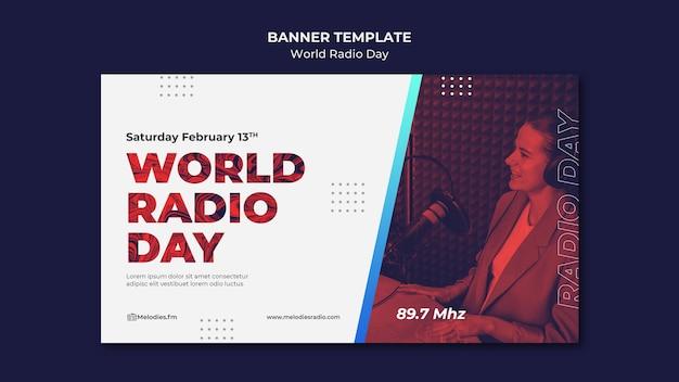 Bannière horizontale pour la journée mondiale de la radio avec un diffuseur masculin