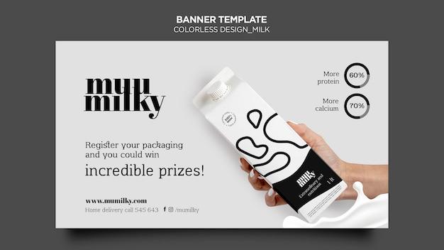 Bannière horizontale pour le lait avec un design incolore