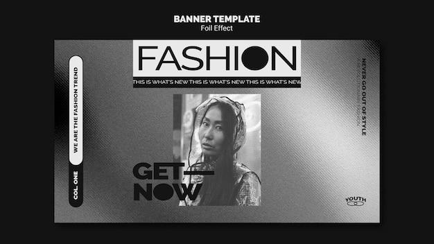 Bannière horizontale pour la mode avec effet métallisé