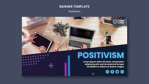 Bannière horizontale pour l'optimisme et le positivisme
