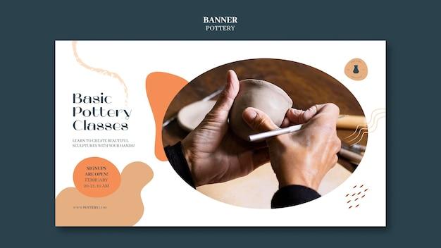 Bannière horizontale pour poterie avec des récipients en argile