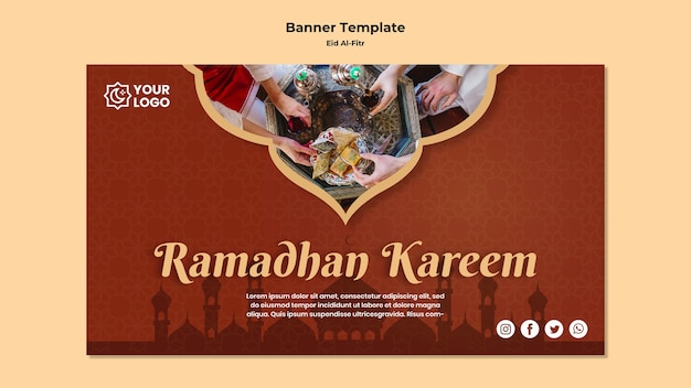 Bannière horizontale pour ramadhan kareem