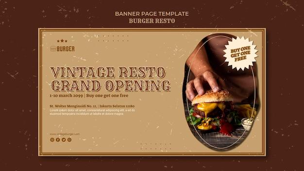 Bannière horizontale pour restaurant burger