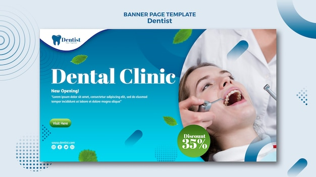 Bannière horizontale pour les soins dentaires