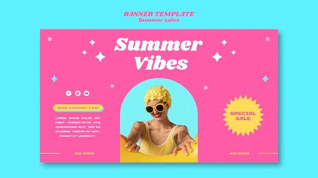Bannière horizontale pour les soldes d'été