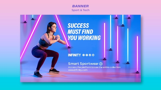 Bannière horizontale pour le sport et l'exercice