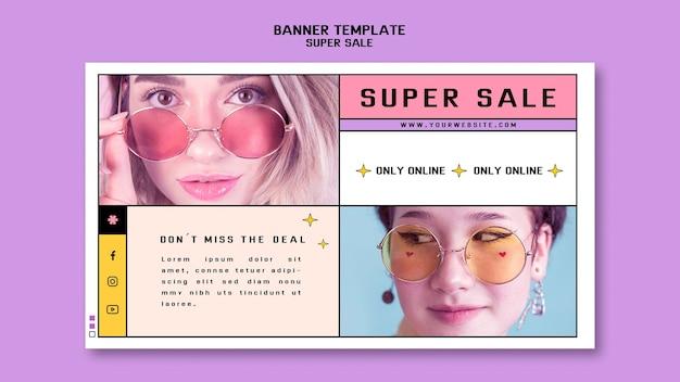 Bannière horizontale pour super vente de lunettes de soleil