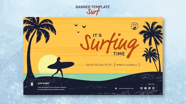 Bannière horizontale pour le temps de surf